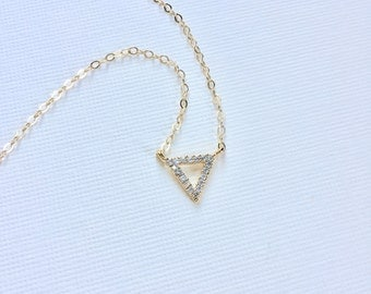 Triangle Necklace in Gold, Geometric Jewelry, Cubic Zirconia, Gift For Her, Minimalist Layered Everyday Contemporary Jewelry