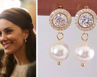 Kate Middleton White Pearl Gold Cubic Zirconia Halo Drop Earrings