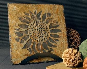 Natural Stone Trivet / Hot Plate - Sunflower on Buff Slate