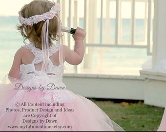 Flower Girl Dress. Pink Dress. Lace overlay. Mini Bride Dress. Corset top, TUTU Skirt, Detachable Train & Hair Piece! Size 6m-12 Girls.