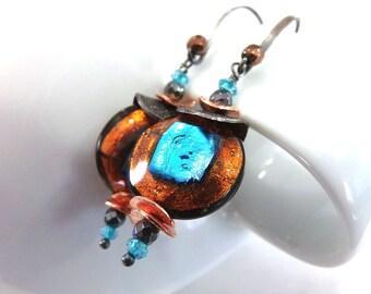 Blue Earrings, Murano Glass Earrings, Venetian Glass Earrings, Sterling Silver Earrings, Blue Copper Earrings, Topaz Earrings -  Copper Lake