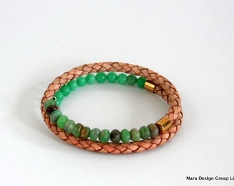 leather and chrysoprase wrap bracelet - adjustable