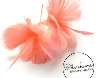 Goose Feather Flower Hat Trim for Fascinators, Wedding Veils and Hat Making - Coral