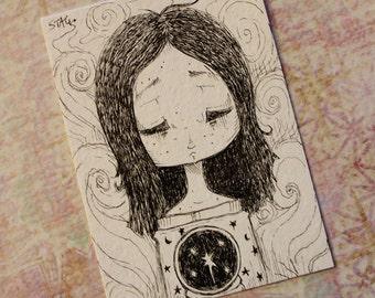 Original Inktober ACEO No 21 Seer lowbrow art