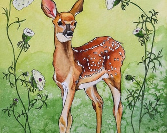 Miss Fawn Archival Watercolor Art print, Nursery art print, 8x10, 11x14.