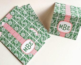 Chinoiserie Jade Tile Personalized Monogram Folded Notes