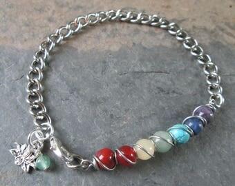 Chakra Gemstones & Chain Bracelet - Lotus Charm -  Metaphysical / Chakra / Spiritual Jewelry