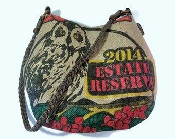Pueo. Mini-Bell Hobo Handbag. New Design For Spring. Shoulder Bag. Burlap, Repurposed Kauai Coffee Company Bag. Handmade in Hawaii.