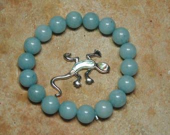 Natural Aqua Marine Gemstone Stretch Bracelet