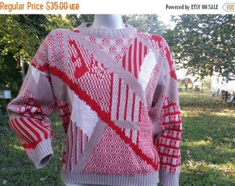 SALE 30% OFF Womens 70s Sweater, Vintage Ski Sweater, 70s Costume, Vintage Sweater, Graphic Sweater in Red, White and Tan by Helen Sue Size