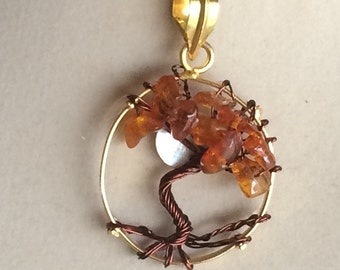Wire Wrapped Tree of Life Amber Pendant