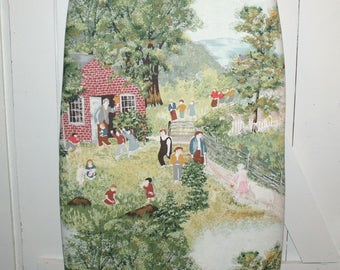 "Sweet Grandma Moses ""Mary and Little Lamb"" Vintage Barkcloth Ironing Board Cover - Fits up to 18-Inch Wide Boards"