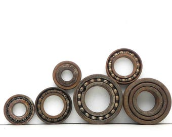 6 Salvaged Rusty Heavy Duty Ball Bearings for your Assemblage Steampunk project Repurpose
