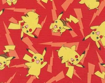 Robert Kaufman Red Pokemon Fabric by the yard AOP162133