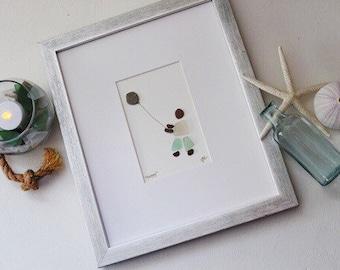 Sea Glass Art / Boy with Balloon / Nursery Art / Beach Decor / Baby Gift / Birthday Gift / Framed Art /Pebble Art / Coastal Decor