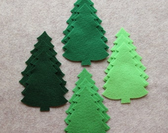 Green Day - Large Christmas Trees #2 Value Pack - 36 Die Cut Acrylic Felt Shapes
