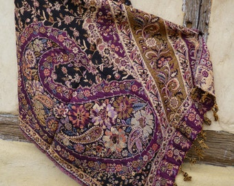 "Indian Paisley Reversible shawl/stole. Flowers. Burgundy/blue/black. Man made fibre. 78 x 30""  198 x 76 cm"