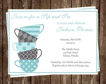 Sip and See Party Invitations for Baby Boy,  Tea Cup, Meet Baby Invites, Boys, Set of 10 Printed & Envelopes, FREE shipping, SASBO