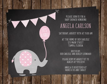 Chalkboard, Elephant, Baby Shower Invitations, Girl, Pink, Balloon, Polka Dots, Party, Sprinkle, 10 Printed Invites, FREE Shipping, CKELSPK