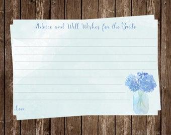 Hydrangea, Mason Jar, Bridal Shower, Advice Card, Watercolor, Aqua, Blue, Floral, Country, Wedding, 24 Printed Cards, FREE Shipping, HYGBBR