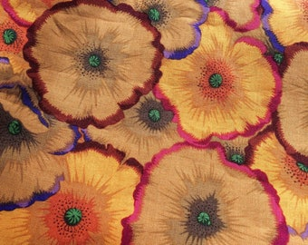 Philip Jacobs Picotte Poppies, Kaffe Fassett collective, ocher, rare, OOP, vhtf, half yard Floral fabric