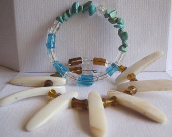 Garage Sale A Pair of OOAK Mix and Match  Gemstone and Mother of Pearl Statement and Stackable  Bracelets