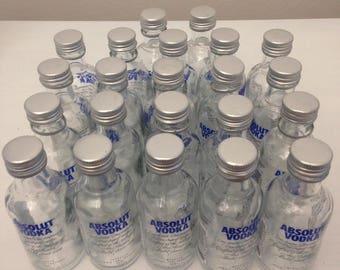28 Empty Glass Absolut Vodka Mini Bottles