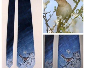 CUSTOM ORDER Hand painted Silk tie Nightingale (59.00 EUR)