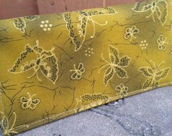 Handmade Fabric Checkbook Cover-butterfly on dark green yellow background