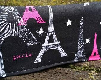 Handmade Fabric Checkbook Cover- Paris
