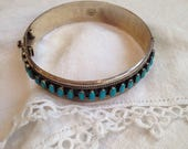 Turquoise Sterling Silver Bracelet Mexico Zuni Petit Point Style