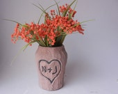 Faux Bois Vase with carved heart - custom order