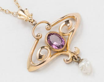 Antique Lavalier Necklace with Genuine Amethyst & Pearl Drop in 14K Gold Filled Victorian Pendant, Wedding Jewelry, Antique Jewelry Gift