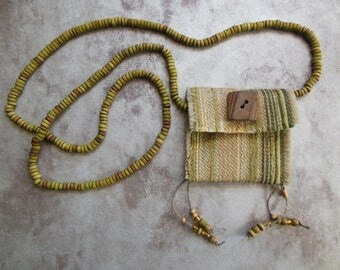 Beaded Fabric Amulet Pouch Necklace, Green Fiber Necklace, Poem Keeper