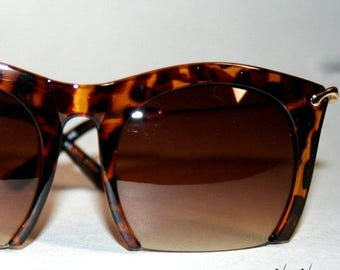Square Tortoise Oversized Semi Rimless Sunglasses Rockerchic
