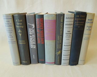 Grey Books for Decor - Books by the Foot in Shades of Gray - Decorative Books - Vintage Book Stack