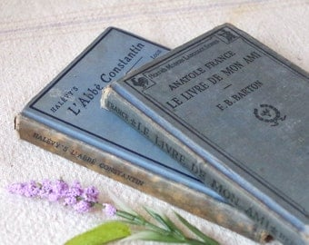 2 Salvaged French Study Books Early 1900s - Aged Foreign Language HB Books