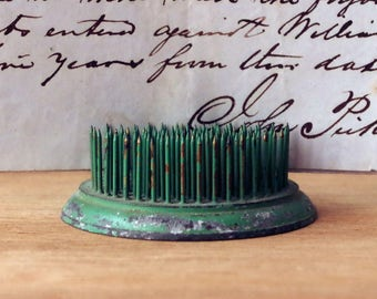 Vintage Chippy Green Metal Flower Frog with Spikes