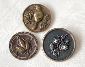 Antique Victorian BUTTON lot of Three Steel Cut Brass Pictorial Tinted Collectible Metal Buttons