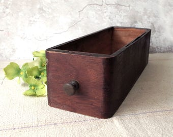 Vintage Wood Sewing Machine Drawer - repurpose wooden box for supplies