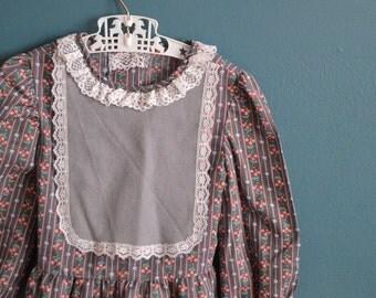 Vintage Floral Print Lavender Girl's Blouse - Size 3T