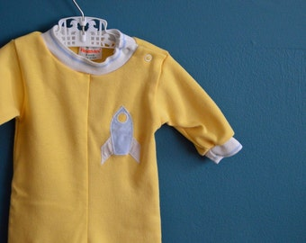 Vintage Yellow Baby Jumpsuit with Space Ship Applique - Size 6 Months