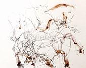 Horse Art Print, wall art, horse artwork, horse gifts, mixed media, line art, contemporary art, horse painting, animal art, gift for men
