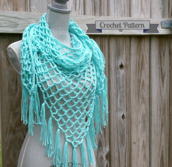 Crochet Triangle Shawl Patterns For Beginners : Crochet Pattern Summer Lattice Shawl Pattern Triangle Scarf