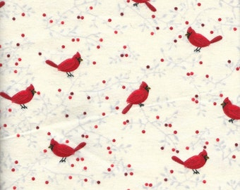 "Red Cardinals Flannel, 1 yard x 42"" wide"