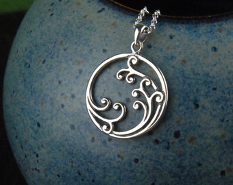 Sterling silver wave pendant necklace in sterling silver, crashing waves, round pendant, ocean, large pendant