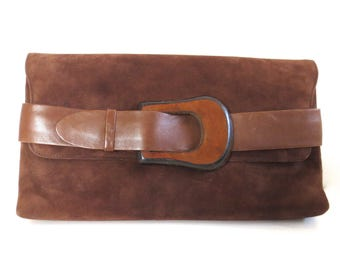 Vintage Brown Suede Belted Clutch
