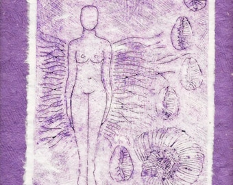 The Goddess: Venus-Collograph Monotype-Ed.of 1- 9 x 12