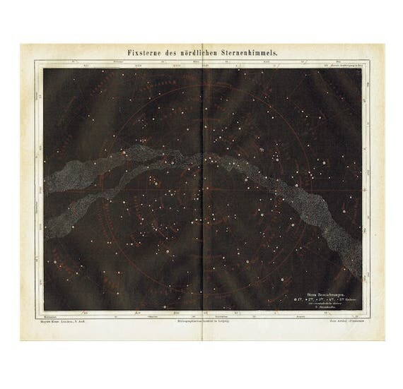 c. 1894 STAR MAP LITHOGRAPH - fixed stars of the northern hemisphere - original antique print -celestial astronomy chart - milky way