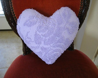 """Handmade Lavender Hobnail Cabbage Roses and Pearls Vintage Chenille Valentine Heart Pillow 14"""" x 14"""""""